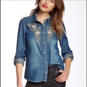LOVE STITCH Western Embroidered Chambray Shirt